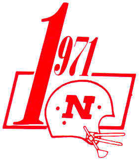 This should be a logo familiar to all Big Red fans, as it was used during the 1971 season to commemorate the 1970 National Championship with the oversized #1 in hopes for another chance at another National Chapmpionship. The Cornhuskers did not disappoint!